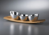 Nambe Trio Condiment Set w/Cherry Base, 15""