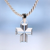 Lalique Crystal Pendant Cross Clear SS