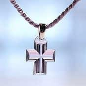 Lalique Crystal Pendant Cross Mauve SS