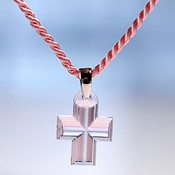 Lalique Crystal Pendant Cross Pink SS