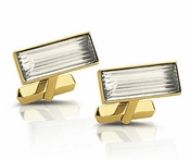 Lalique Prisme Gold and Clear Cufflinks