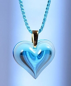 Lalique Heart Pendant Large Light Blue GP