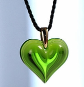 Lalique Heart Pendant Large Lime Green GP