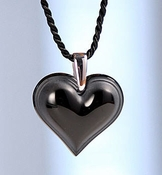 Lalique Heart Pendant Large Black SS