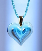Lalique Heart Pendant Small Light Blue GP