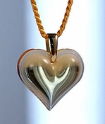 Lalique Heart Pendant Small Amber GP