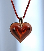 Lalique Heart Pendant Small Red GP