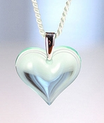 Lalique Heart Pendant Small Lagoon SS