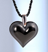 Lalique Heart Pendant Small Black  SS
