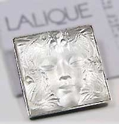 Lalique Brooches: Masque de Femme Brooch - Silver Clear