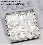 Lalique Brooches: Masque de Femme Brooch - Gold-plated Clear