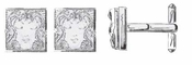 Lalique Cufflinks: Masque de Cufflinks - Silver Clear