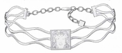 Lalique Necklaces: Masque de Femme Necklace - Silver Clear