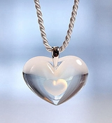 Lalique Crystal Pendant Tender Heart Opalescent SS
