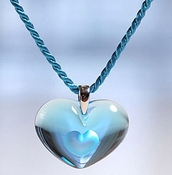 Lalique Crystal Pendant Tender Heart Light Blue SS