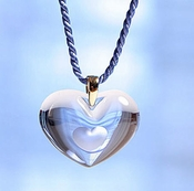 Lalique Crystal Pendant Tender Heart Blue GP
