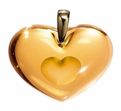 Lalique Crystal Pendant Tender Heart Amber GP