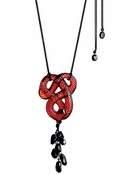 Lalique Serpent Pendant, Red Crystal and Onyx