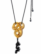 Lalique Serpent Long Pendant, Amber Crystal and Onyx