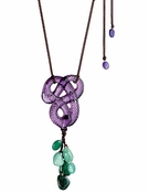 Lalique Serpent Long Pendant, Purple Crystal and Aventurine