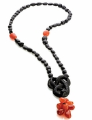 Lalique Serpent Necklace, Black crystal, Onyx and Carnelian