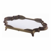 Tray w/Mirror,w/Brass Frame