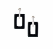 Lalique Black Crystal Rectangular - Sterling Silver
