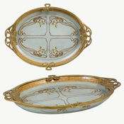 Tray, Porcelain and Brass