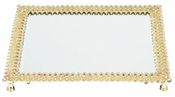 Olivia Riegel Gold Lattice Beveled Mirror Tray