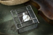 J Devlin Art Glass Photo Box  Photo Box-Vint & Bevel w/Cross