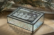 J Devlin Art Glass Photo Box  Vintage with Filigree Corners