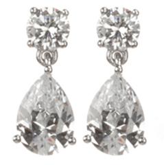 Crislu Sterling Platinum Cubic Zirconia Solitaire & Pear Drop Earrings