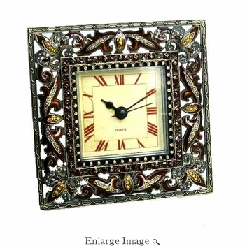 Well Jeweled Square Amber Clock