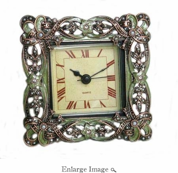 Well Jeweled Square Green Clock