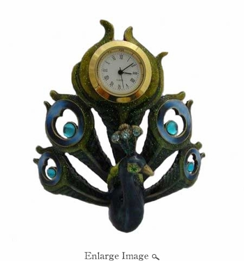 Well Jeweled Peacock Clock