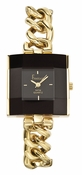 Freelook Watch Square face, chain bracelet-Black and YG