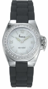 Freelook Watch Stainless Steel Case, Silicon Band, Grey with swarovski bezel