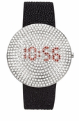 Freelook Watch Digital Black/Silver Swarovski
