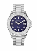 Freelook Watch Stainless Steel-navy blue dial swarovski indexes