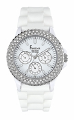 Freelook Watch Seadiver White Band Multi Function with swarovski bezel