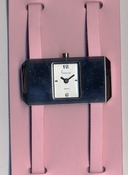 Freelook Watch Wide Leather strap with double buckles-pink