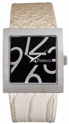 Freelook Watch Square case-Large Numbers with leather band-cream/snake