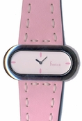 Freelook Watch OVAL CASE LEATHER BAND WITH STITCHING-PINK
