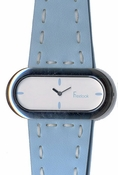 Freelook Watch OVAL CASE LEATHER BAND WITH STITCHING-BLUE