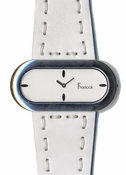 Freelook Watch OVAL CASE LEATHER BAND WITH STITCHING-WHITE