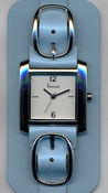 Freelook Watch Double leather band with buckles-blue