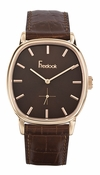 Freelook Watch Rivoli-brown leather band-Rose Gold plated case-brown dial