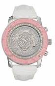 Freelook Watch Glamour- round-pink bezel-white band