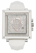 Freelook Watch Glamour- square white bezel-cz dial-white leather band