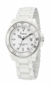 Freelook Watch White Ceramic with silver bezel white dial